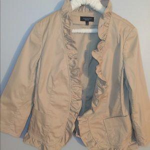 Talbots Khaki 12 Blazer w/ Ruffle Detail Pockets